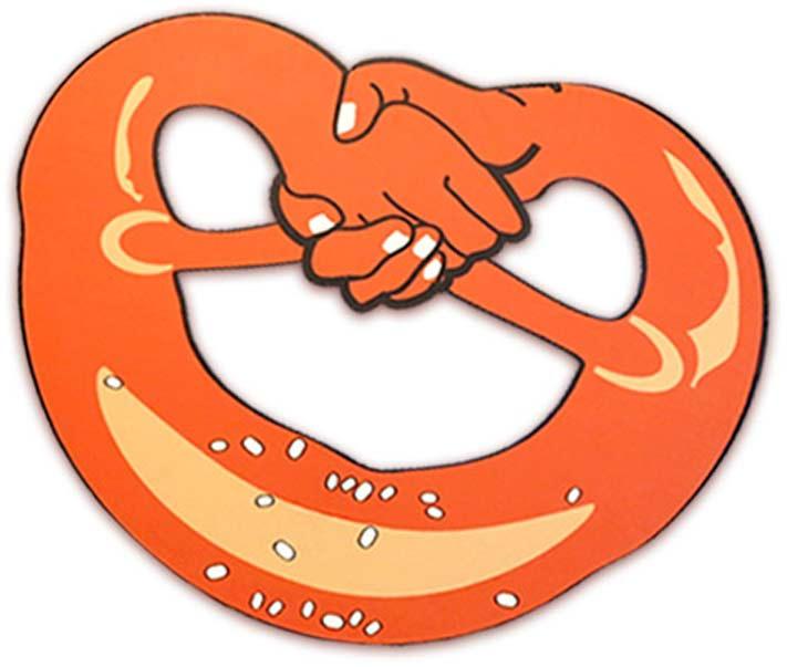 Eine Brezel, mit stilisierten Händen, die ineinandergreifen. Symbol für Zusammenarbeit