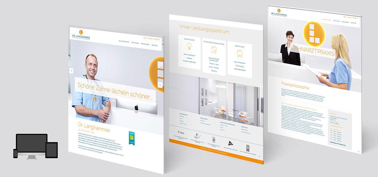 Responsive Website von DR Langhammer (Zahnarzt) Übersicht über 3 Seiten, von der AKSIS Werbeagentur