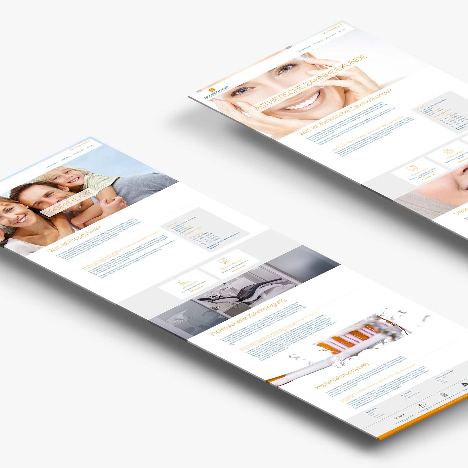 Zwei Unterseiten der neuen responsiven Website von Zahnarzt Langhammer