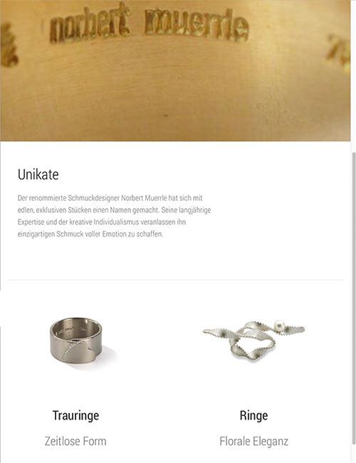 Responsive Website für Norbert Muerrle Schmuck & Accessoires