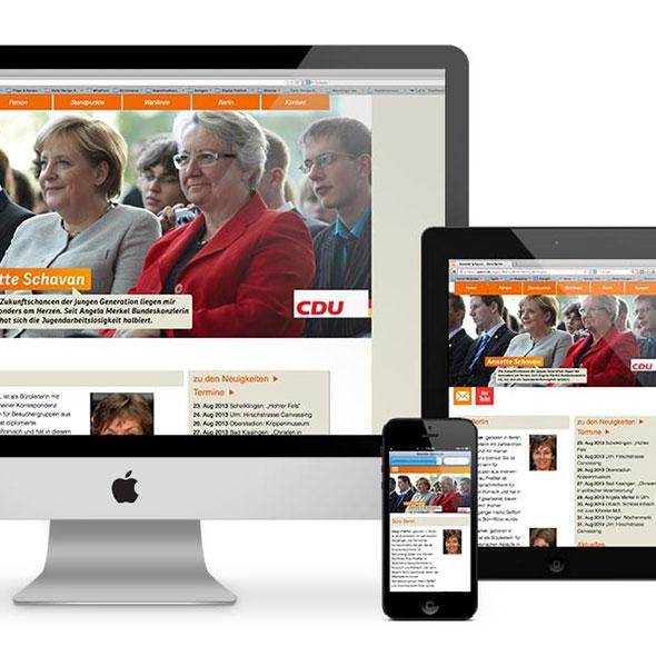 Übersicht über die Darstellung der responsiven Website von Annette Schavan auf verschiedenen Geräten