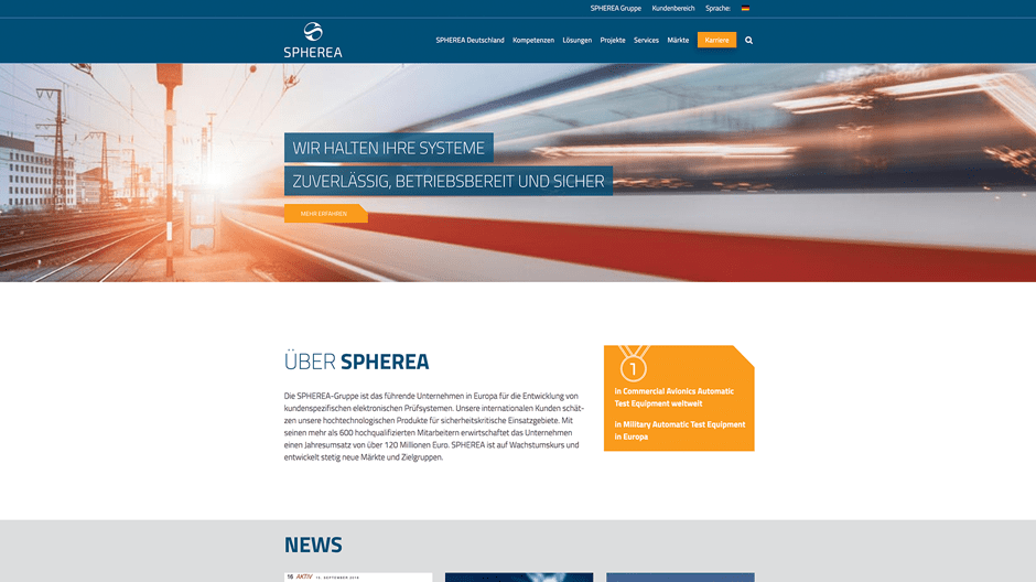 Screenshot der responsiven Website von Spherea Germany
