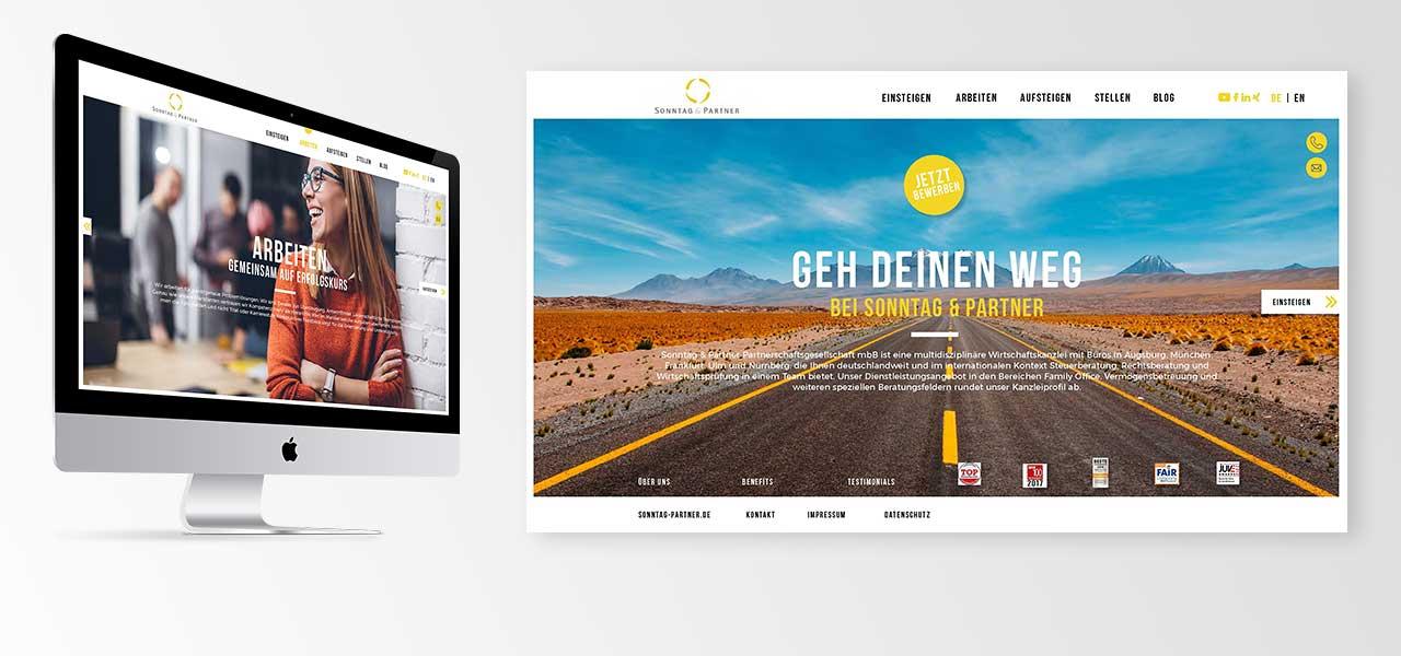 Ein iMac und ein Screenshot der neuen responsiven Website von Sonntag & Partner