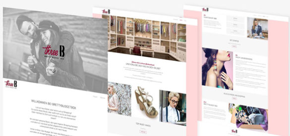 Übersicht über 3 Unterseiten der Webseite von ThreeB