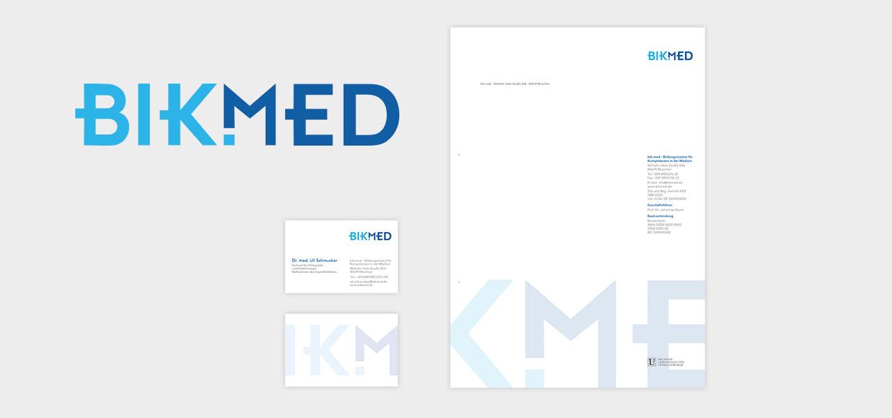 Das Corporate Design von Bikmed, Visitenkarten & Briefbogen