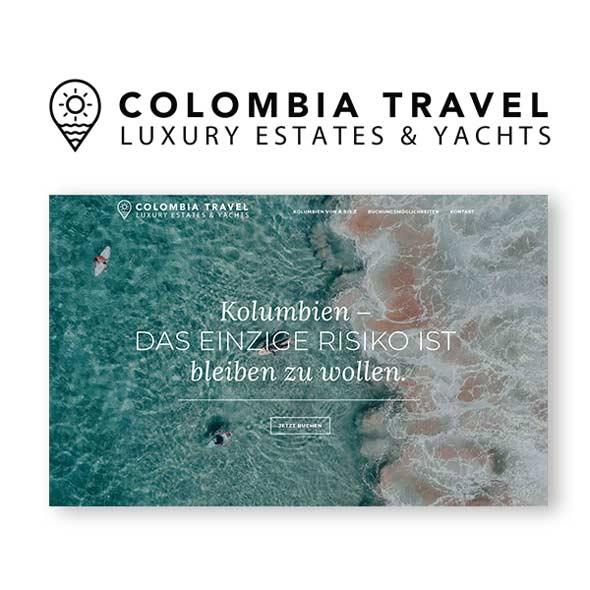 Das Logo von Colombia Rents und ein Screenshot der responsiven Seite