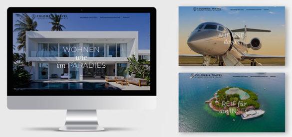 Ein Computer mit der Webseite sowie zwei weitere Screenshots der responsiven Website von Columbia Travel konzipiert und umgesetzt von der AKSIS Werbeagentur