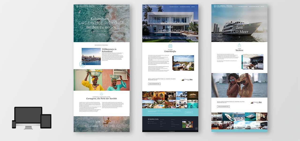 Übersicht über 3 Unterseiten der neuen responsiven Website von Colombia Rents