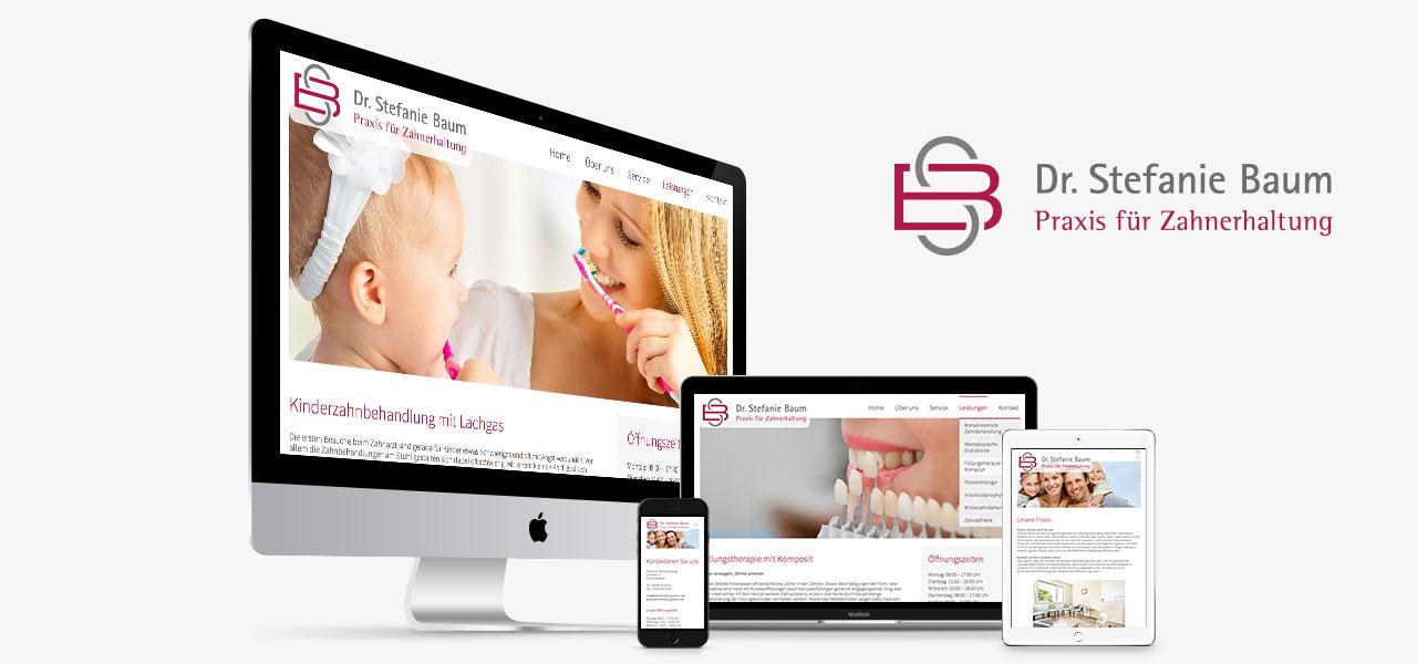 Übersicht über die responsive Website auf verschiedenen Geräten