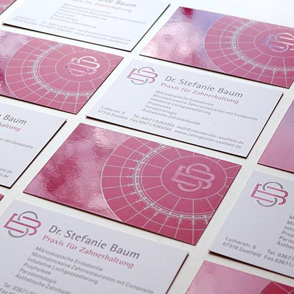 Visitenkarten von Dr. Stefanie Baum Zahnerhaltung