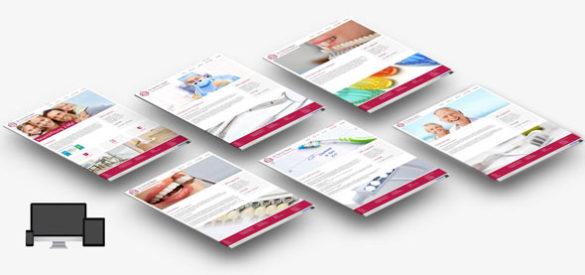 Übersicht über 6 Unterseiten der responsiven Websiten von Dr. Stefanie Baum Zahnerhaltung, entworfen und umgesetzt von der AKSIS Werbeagentur