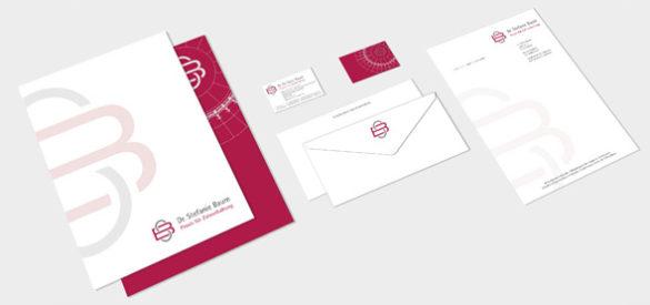 Geschäftspapiere von Dr. Stefanie Baum Zahnerhaltung, visitenkarten, Briefbogen, Briefumschläge, Corporate Design