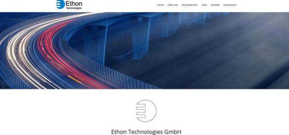 Ausschnitt aus der responsiven Website von Ethon, gestaltet von der AKSIS Werbeagentur