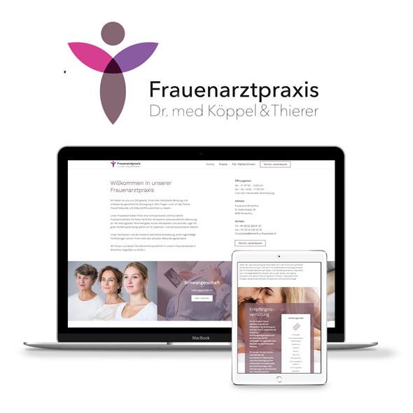 Logo und verschiedene Darstellung der responsiven Website der Frauenarztpraxis