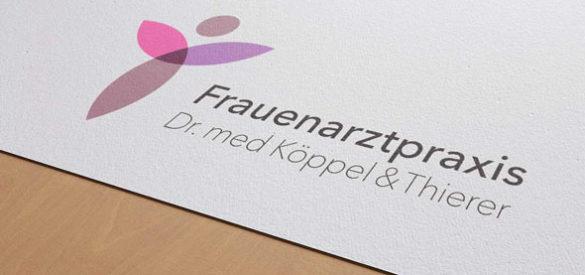 Nahaufnahme des Logos von Frauenarzt Winterthur, auf Papier gedruckt