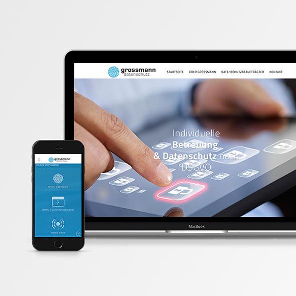 Responsive Website von Grossmann Datenschutz auf einem Laptop und Smartphone