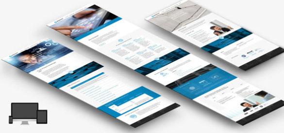 Übersicht über 3 Screens der neuen responsiven Website von Grossmann Datenschutz, erstellt von der AKSIS Werbeagentur