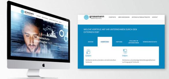 Die neue responsive Website auf einem Computer und ein Screenshot der Website die einen Ausschnitt zeigt
