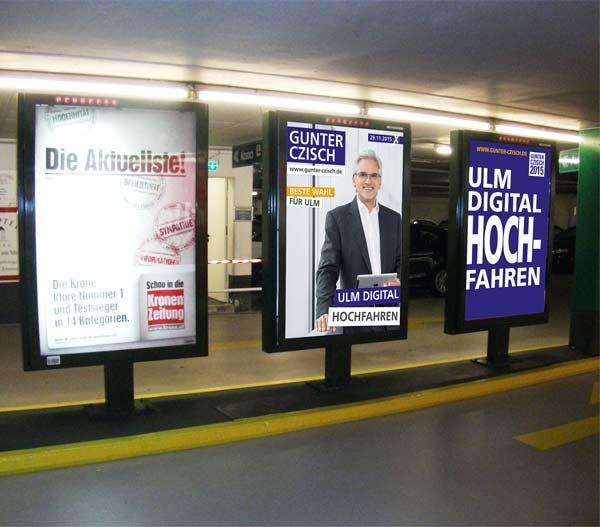 Plakate der Oberbürgermeisterwahl in Ulm. Gut & Klassisch Werbung in der Stadt