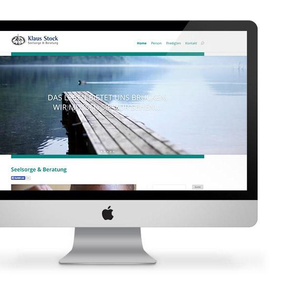 Ausschnitt der responsiven Website auf einem iMac
