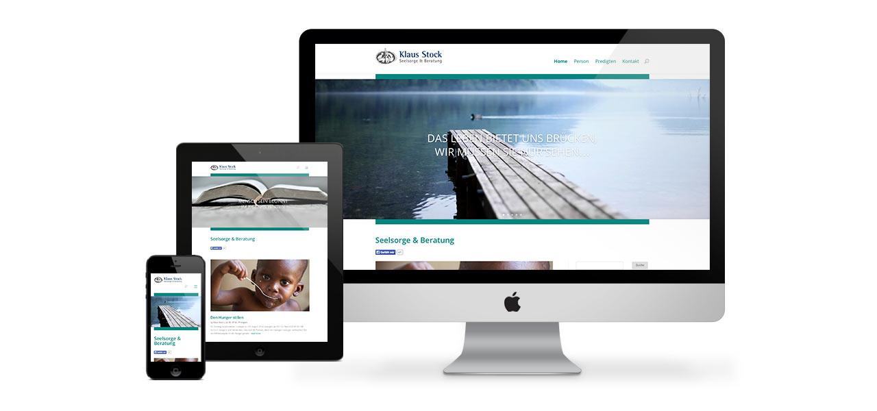 Darstellung der responsiven Website von Klaus Stock auf verschiedenen Geräten