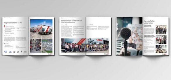 Drei Inhaltsseiten aus der Bewerbung von Kögel auf den Wilhelm Hübsch Preis, gestaltet von der AKSIS Werbeagentur