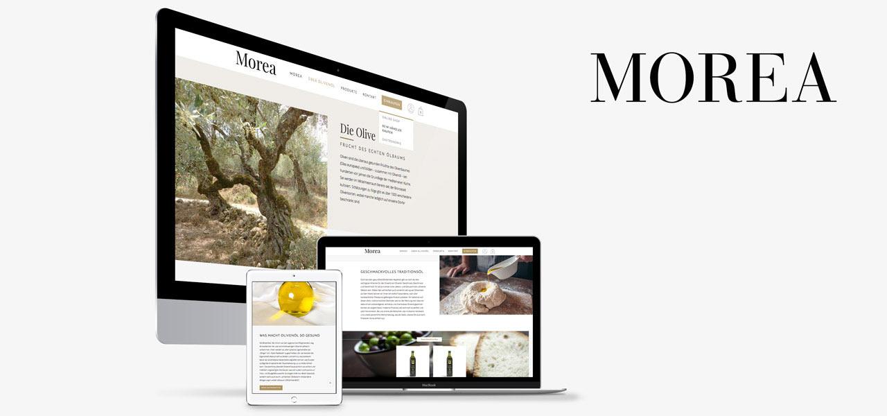 Verschiedene Geräte zeigen die responsive Website von Morea