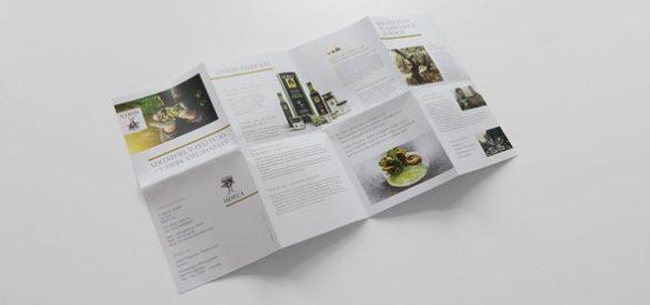 Aufgefalteter Flyer von Morea, den die AKSIS Werbeagentur gestaltete