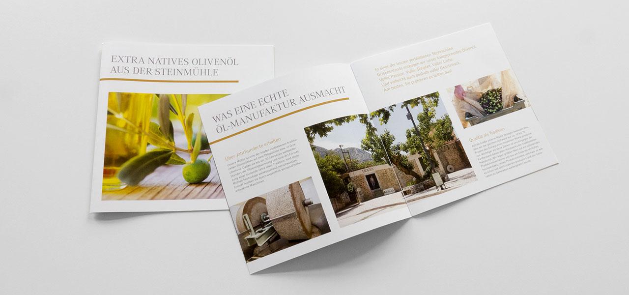 Flyer bzw Imagebroschüre, die die AKSIS Werbeagentur für Morea gestaltete