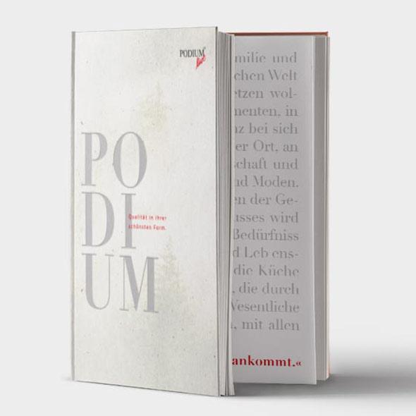 Bild eines Buchs für Podium, Layout Gestaltung