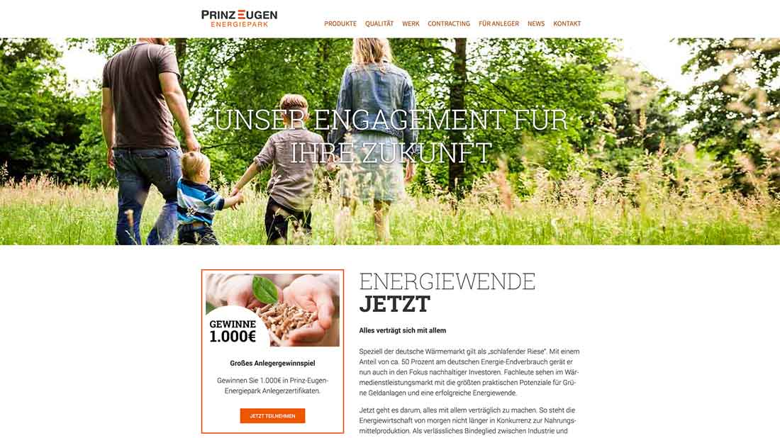 Screenshot der Website von Prinz Eugen Energiepark