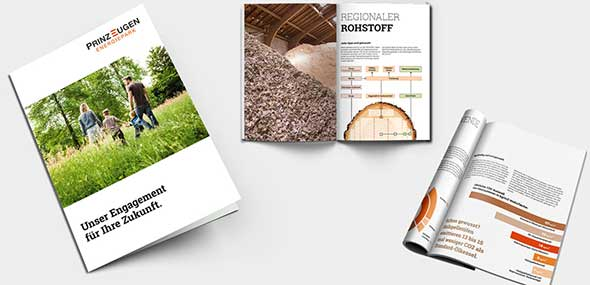Printmedien, die für Prinz Eugen Energiepark gestaltet wurden