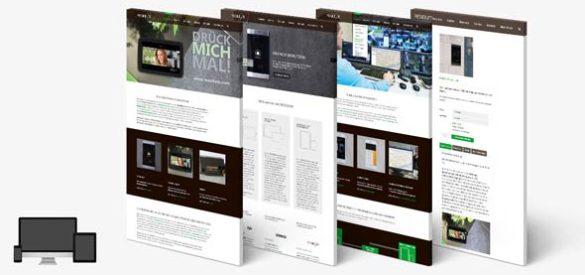 4 Übersichten über Unterseiten der Website von Residium