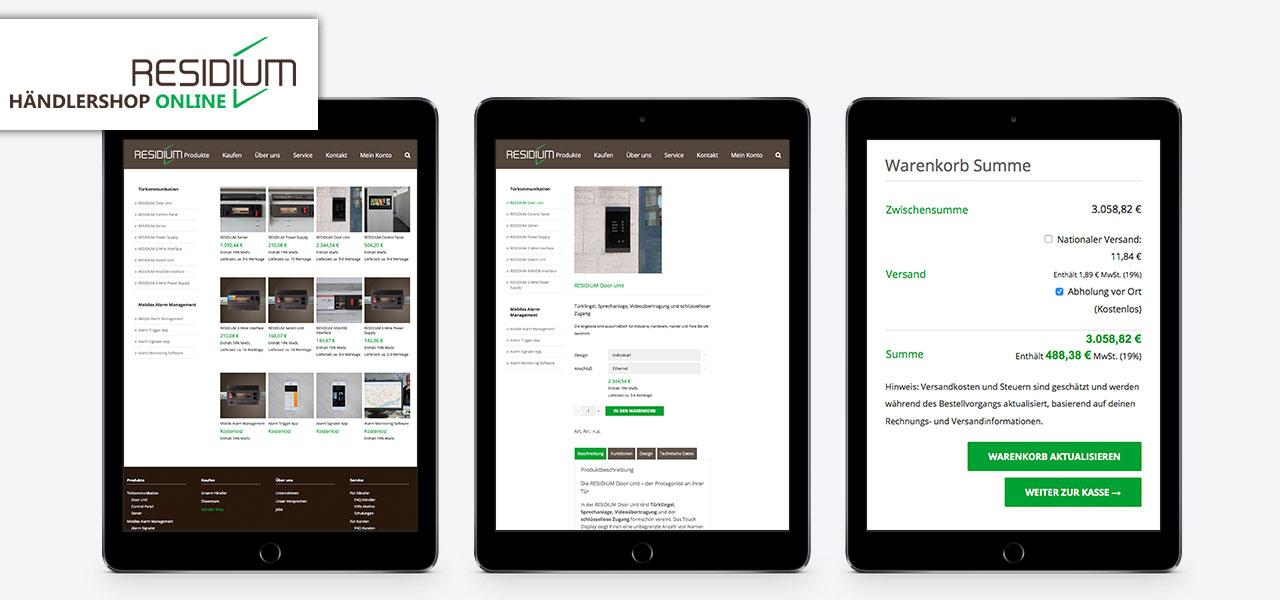 Drei Tablets präsentieren den Händlershop auf der responsiven Website von Residium