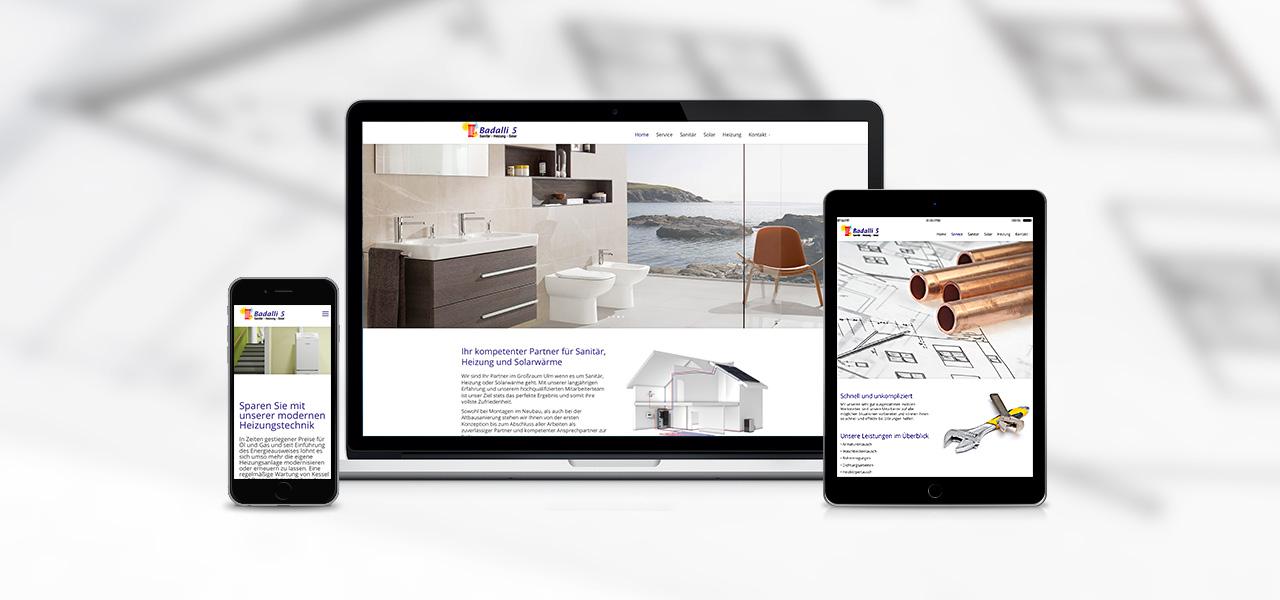 Übersicht über die Darstellung der responsiven Website von Badalli 5 auf verschiedenen Geräten