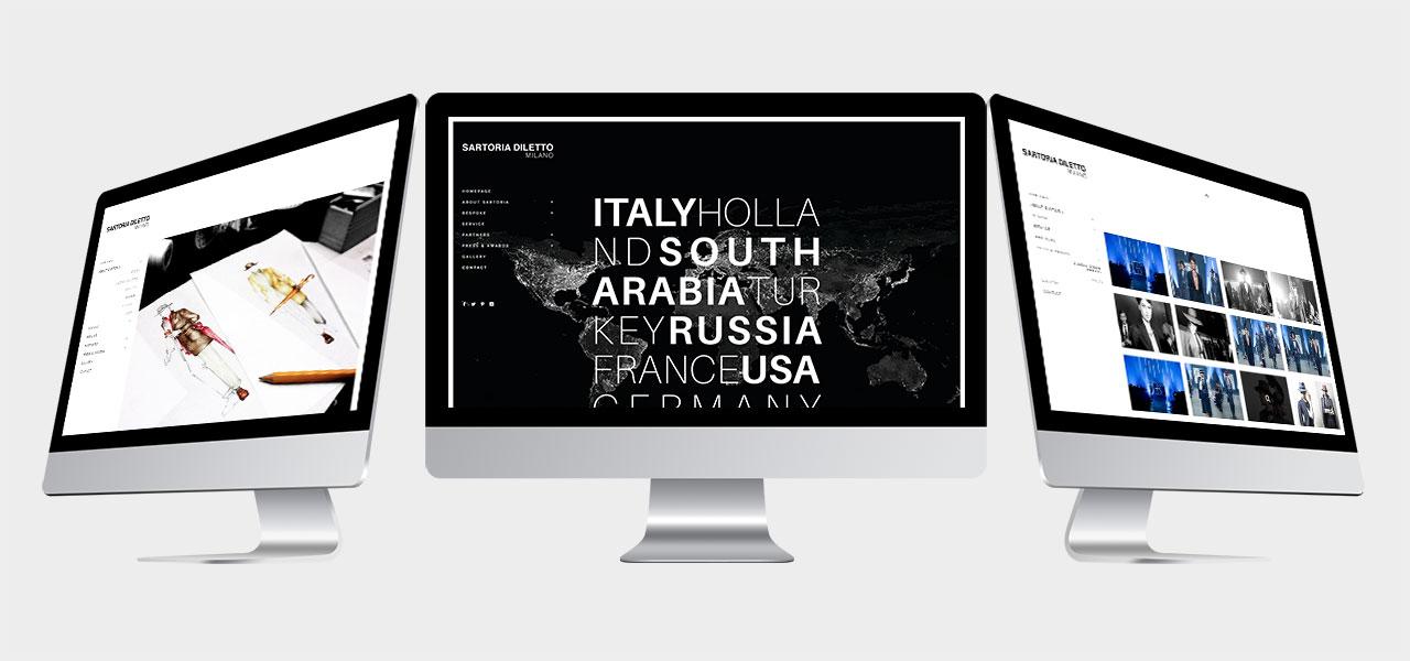 3 Verschiedene Ansichten der Webseiten auf verschiedenen Bildschirmen