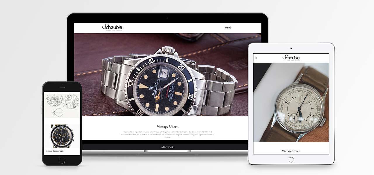 Die unterschiedliche Darstellung von der neuen responsiven Website von Scheuble Schmuck auf verschiedenen Geräten