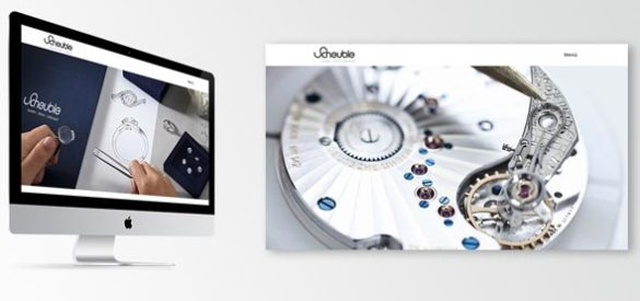 Die responsive Website von Scheuble Uhren auf einem iMac und ein Screenshot der Startseite nebeneinander