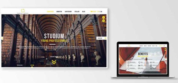 Ein Laptop und ein Screenshot der neuen responsiven Website von Sonntag & Partner