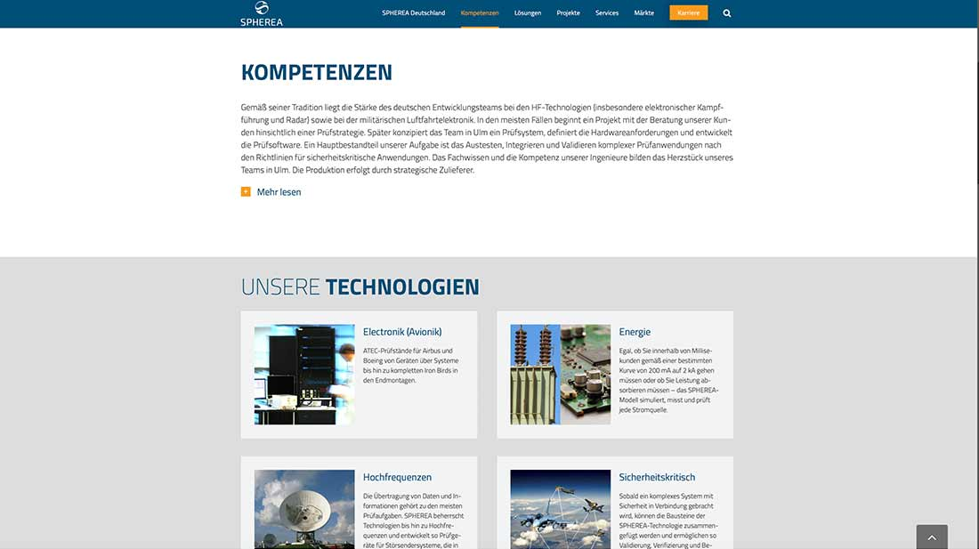 Website von Spherea Germany. Webdesign und SEO