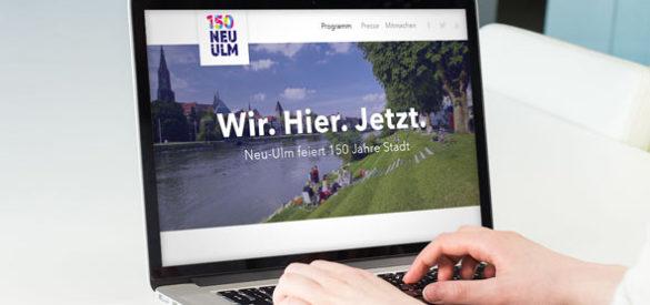 Webseite für das 150 jährige Stadtjubiläum der Stadt Neu Ulm