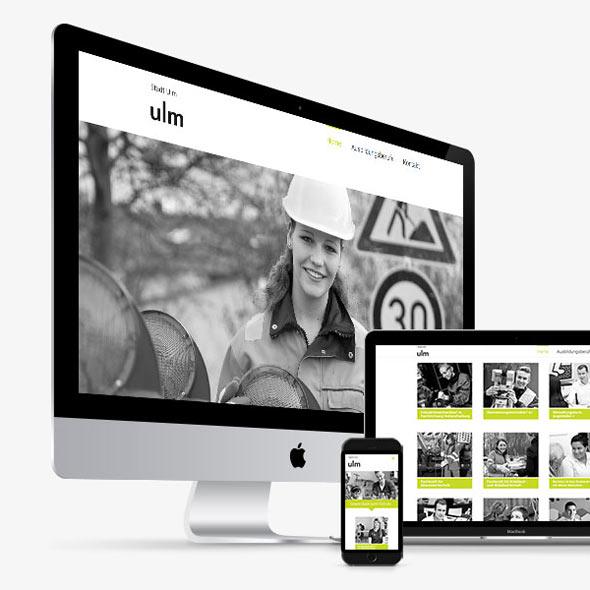 """Übersicht über die responsive Seite der Stadt Ulm für die Cross Media Kampagne """"Ulm sucht dich"""" auf verschiedenen Geräten"""
