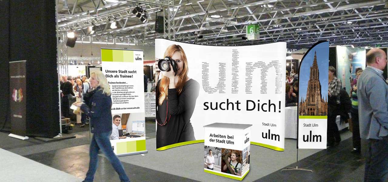 Messestand der Stadt Ulm für die Cross-Media Kampagne