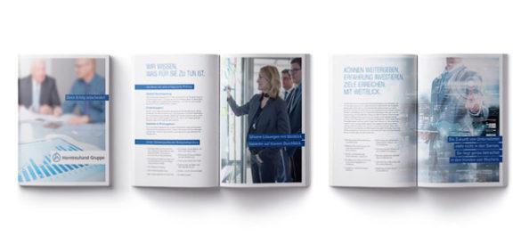 Die Broschüre, gestaltet von der Aksis Werbeagentur, Cover und zwei Innenseiten