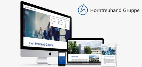 Auf verschiedenen Geräten wird die responsive Website von Horntreuhand gezeigt, gestaltet von der AKSIS Werbeagentur