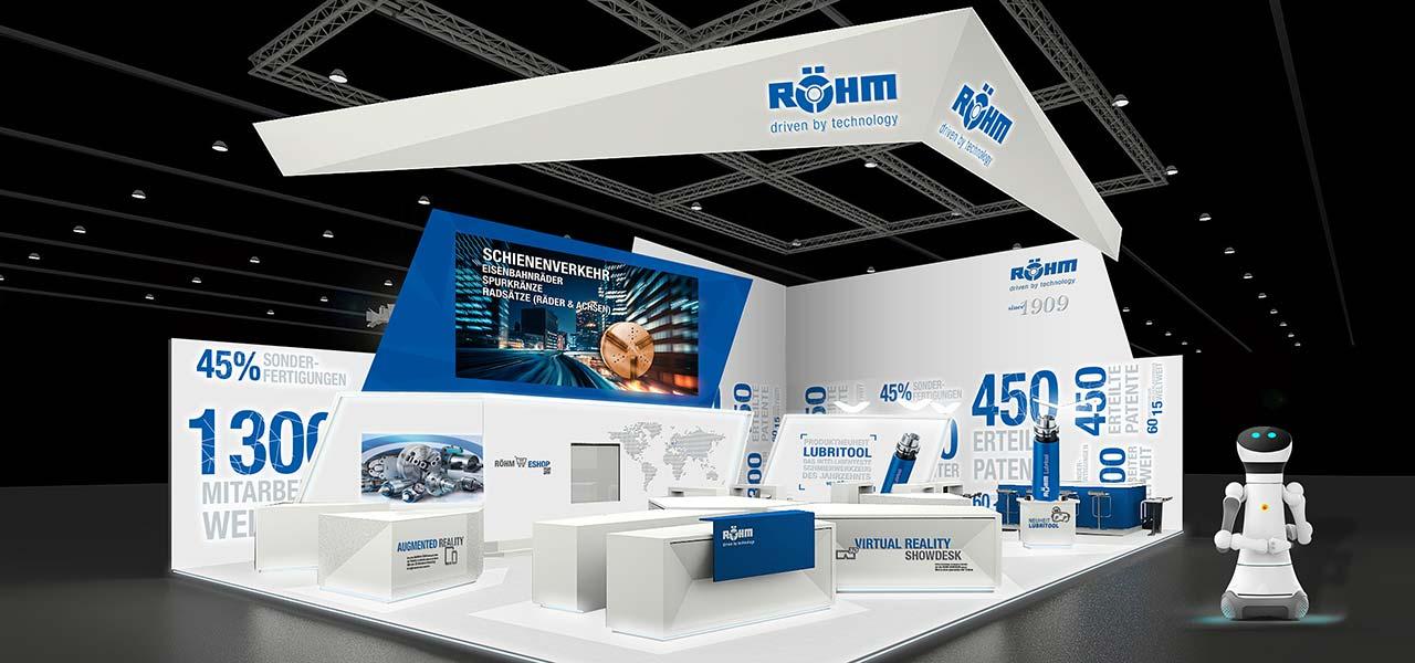 Messestand für Röhm GmbH konzipiert & entworfen von der AKSIS Werbeagentur