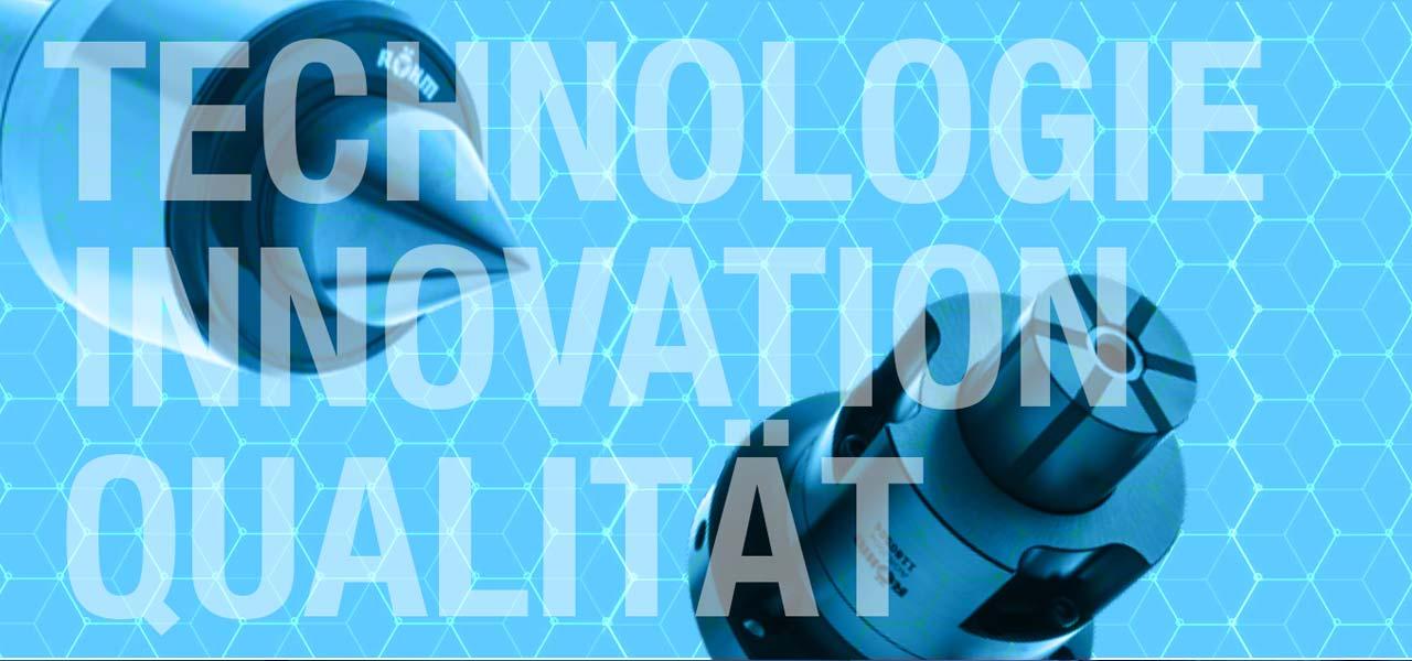 Ein technisches Gerät mit überlagertem Text: Technologie, Innovation, Qualität