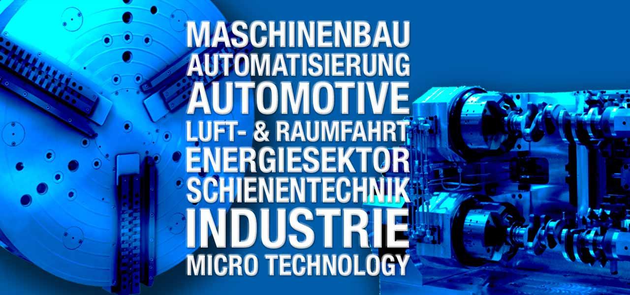 Ein blaues, technisches Bild mit Maschinen und Text, der die Themengebiete von Röhm GmbH zeigt.