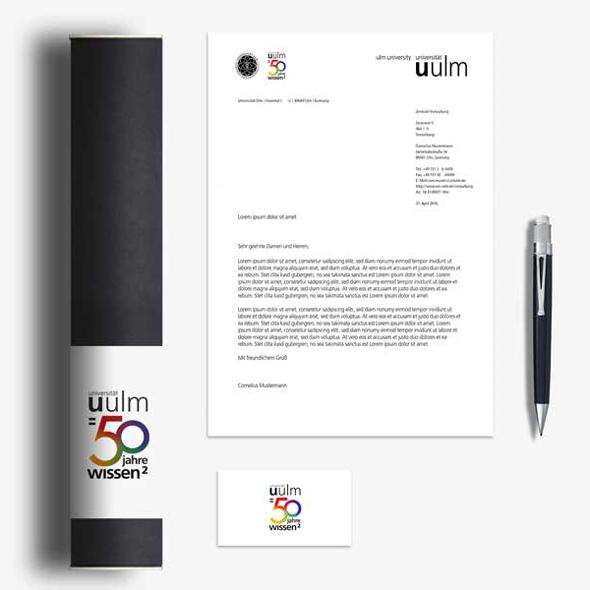 Briefkopf, Visitenkarte, Stift: Corporate Designmedien der Uni Ulm 50 Jahre WIssen.