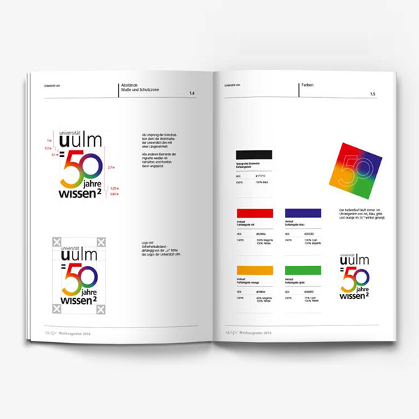 Corporate Design Guide, Corporate Identity Guide der Universität Ulm 50 Jahre IWssen